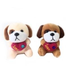 Мягкая игрушка-брелок Собачка с сердечком, высота 8 см
