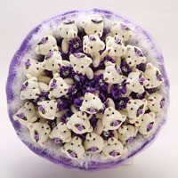 Букет из игрушек Мишки фиолетовые
