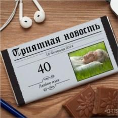 Шоколадная открытка Приятная новость
