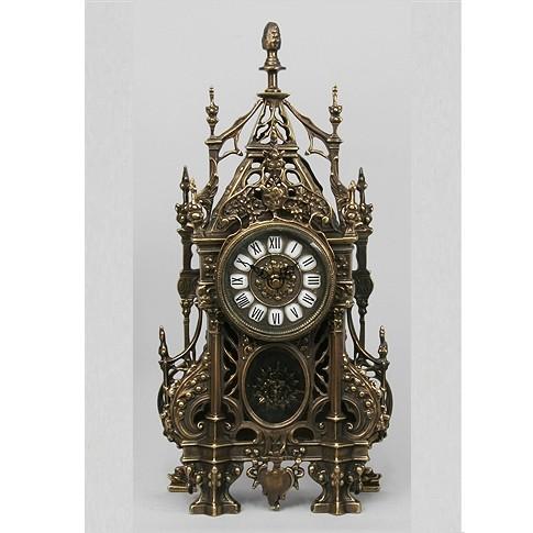 Часы бронзовые каминные с ландышами, с маятником