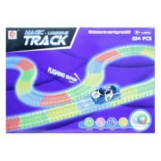 Светящийся трек Magic Tracks 224 детали с машинкой