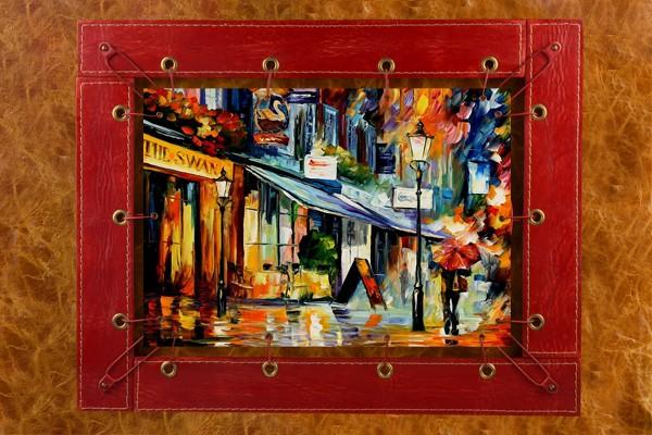 Картина из кожи Прогулка по дождливой улочке Л. Афремов
