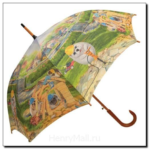Зонт-трость с собачками «Строим конуру»