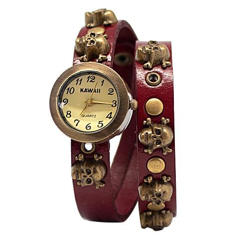 Часы на двойном ремешке Skull (красные)