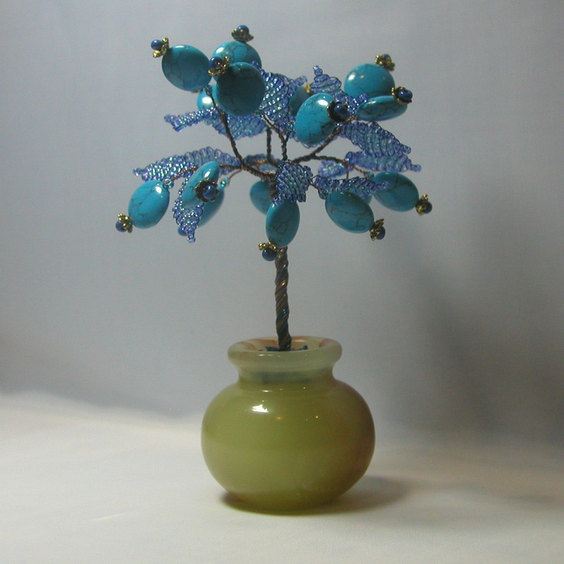 Дерево счастья из бирюзы в вазочке из оникса
