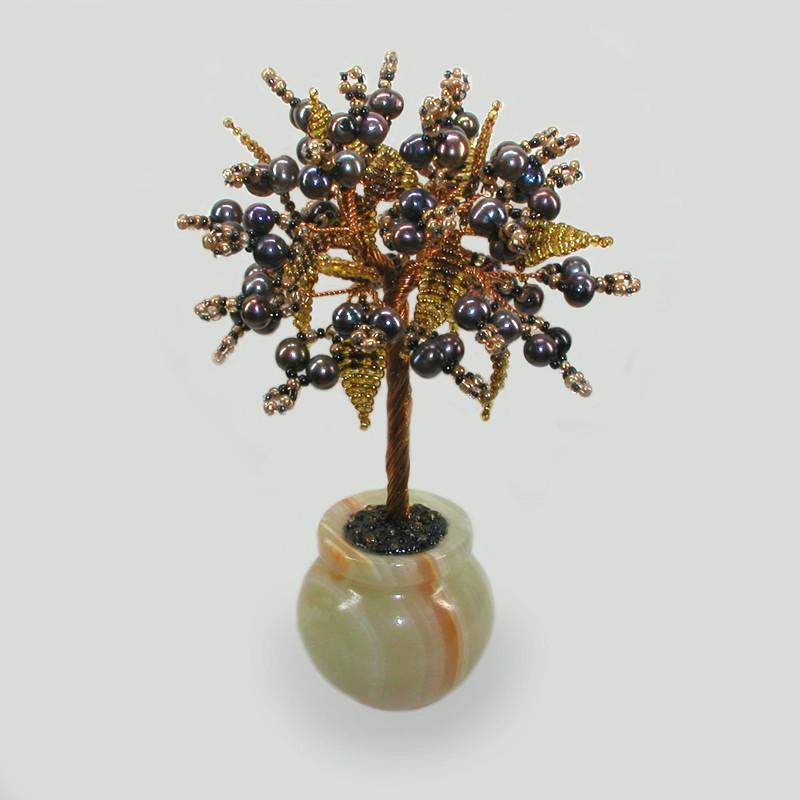 Дерево из черного жемчуга Деметра в вазочке из оникса