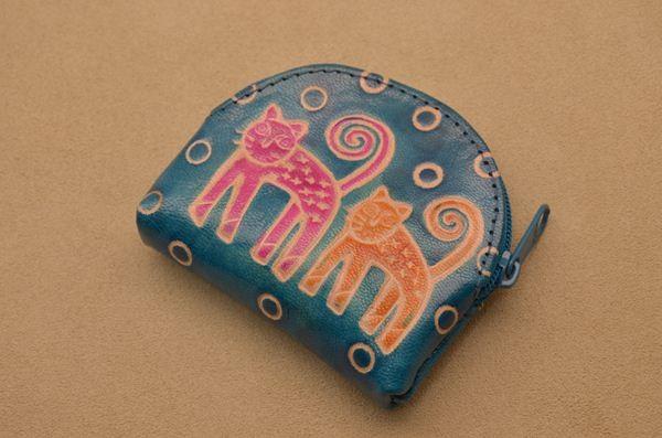 Монетница (голубой, кошки, кожа)