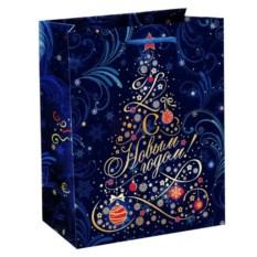 Синий подарочный пакет Ёлка