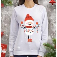Женский свитшот Снеговик с гирляндой