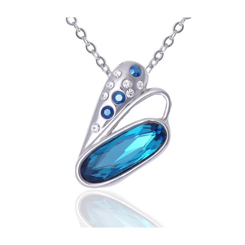 Кулон с голубыми кристаллами Сваровски «Взмах крыла»