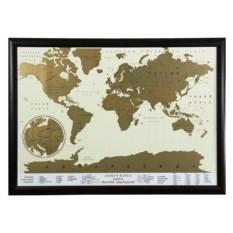 Скретч-карта мира в рамке