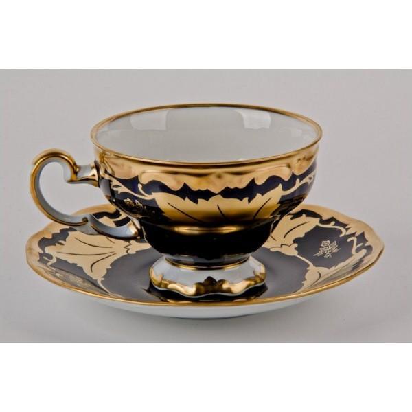 Чайный набор из фарфора на 12 персон Кленовый лист синий