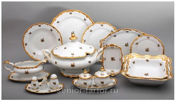 Столовый сервиз Weimar Porzellan Роза золотая на 12 персон