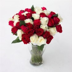 Букет из 51 красных и белых роз Микс 40 см