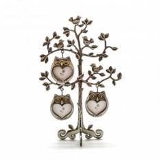 Металличекская фоторамка Дерево с совушками