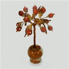 Миниатюрное дерево счастья из авантюрина в вазочке из оникса