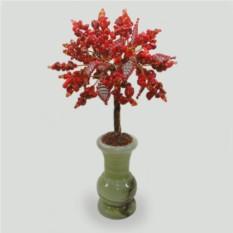Дерево из коралла Богиня Фрейя в вазочке из оникса