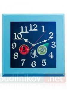 Настенные деревянные часы, 30 см, в голубой рамке