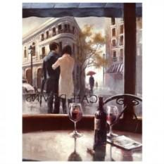 Картина-раскраска по номерам на холсте Двое у кафе