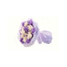 Букет из мягких игрушек Медвежата и розы (сиреневый)