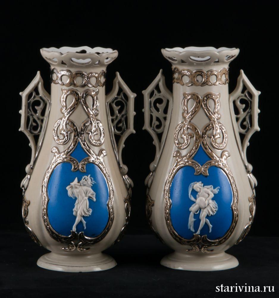 Парные старинные керамические вазы Villeroy & Boch
