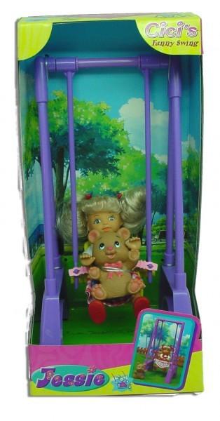 Кукла Кики на качелях с мишкой