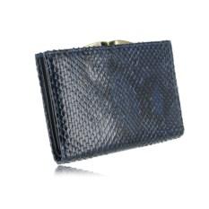 Синий женский кошелек из натуральной кожи питона