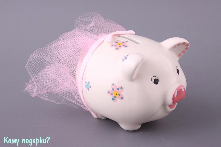 Копилка «Свинья с розовой сеткой», 9 см