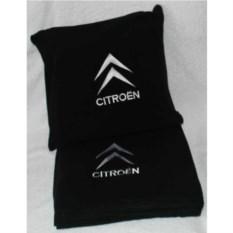 Черный плед с белой вышивкой Citroen
