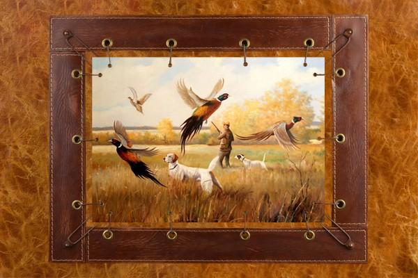 Картина из кожи Охота на фазанов А. Ж. Бруно