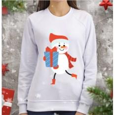 Женский свитшот Снеговик с подарком