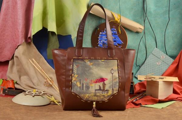 Коричневая сумка-шопер Осеннее настроение Elole Design