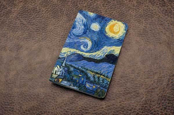 Кожаная обложка для паспорта (белый, Звездная ночь)