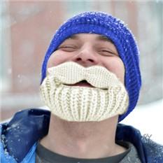Шапка с бородой и усищами (синяя с белой бородой)