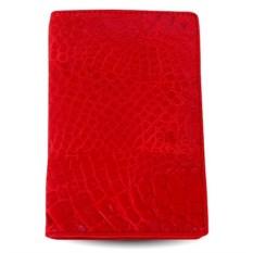 Красная обложка из крокодила для паспорта и автодокументов