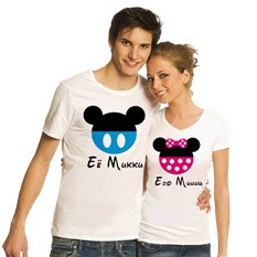 Парные футболки Ее Микки – Его Минни