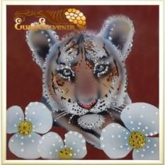 Картина Swarovski Тигренок 410 кристаллов, 20х20 см
