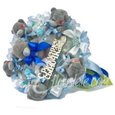 Букет на выписку с мишками и табличкой С Рождением Сыночка