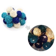 Светодиодная гирлянда Синие ротанговые шарики
