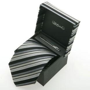 Набор из галстука и заколки S.Quire, черно-серые полосы
