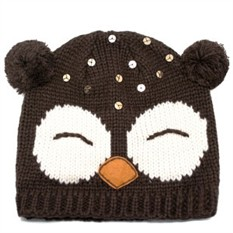 Шапка Sleepy Оwl, коричневая с белым