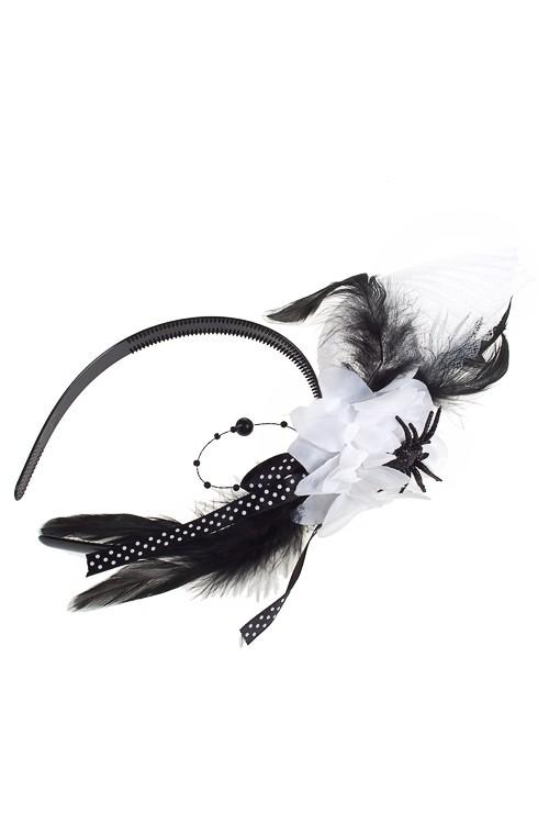 Маскарадный обруч на голову Белый цветок, для взрослых