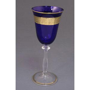 Набор бокалов для вина  «Синие с золотом»