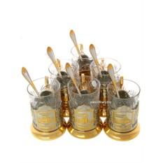 Подарочный набор с позолоченными подстаканниками
