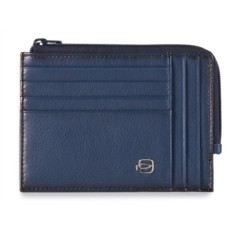 Мужской тонкий синий кошелек на молнии Piquadro Vibe