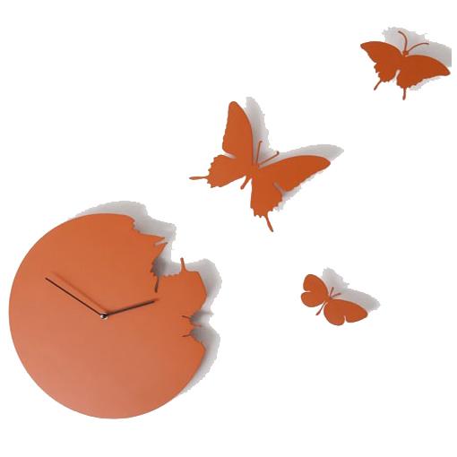 Часы настенные «Бабочки», оранжевые