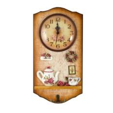 Коллаж-ключница с часами Цветы