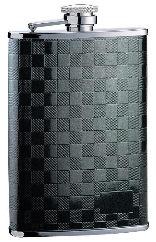 Металлическая фляга S.Quire, черная мелкая клетка, 0,27 л