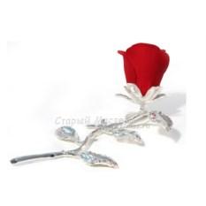 Малая фарфоровая статуэтка с посеребрением Красная роза