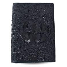 Черная обложка из крокодила для паспорта и автодокументов
